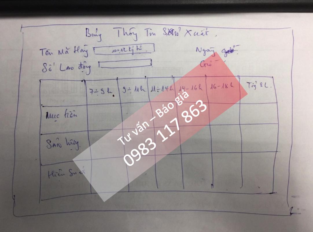 Phác thảo bảng điện tử sản lượng chuyền may