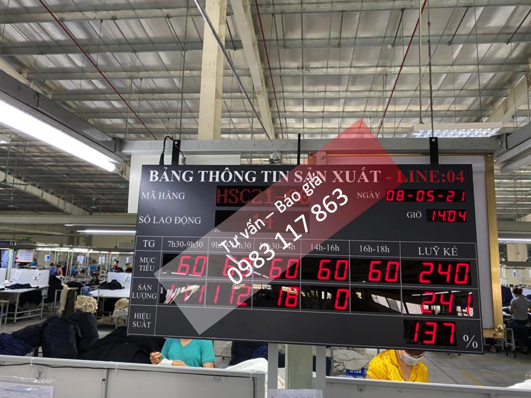 Máy đếm sản lượng chuyền may - Bảng thông tin sản xuất chuyền may công nghiệp